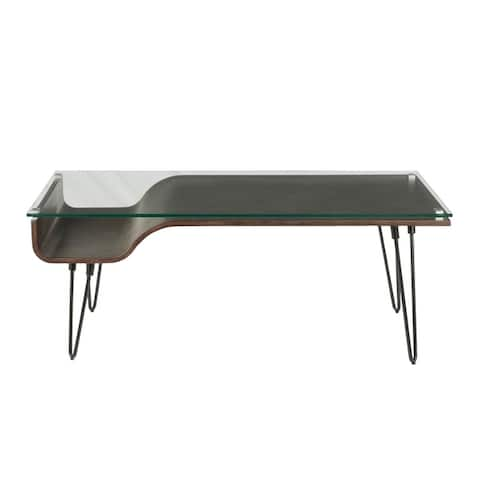Carbon Loft Ali Coffee Table with Glass Top and Wood Nook