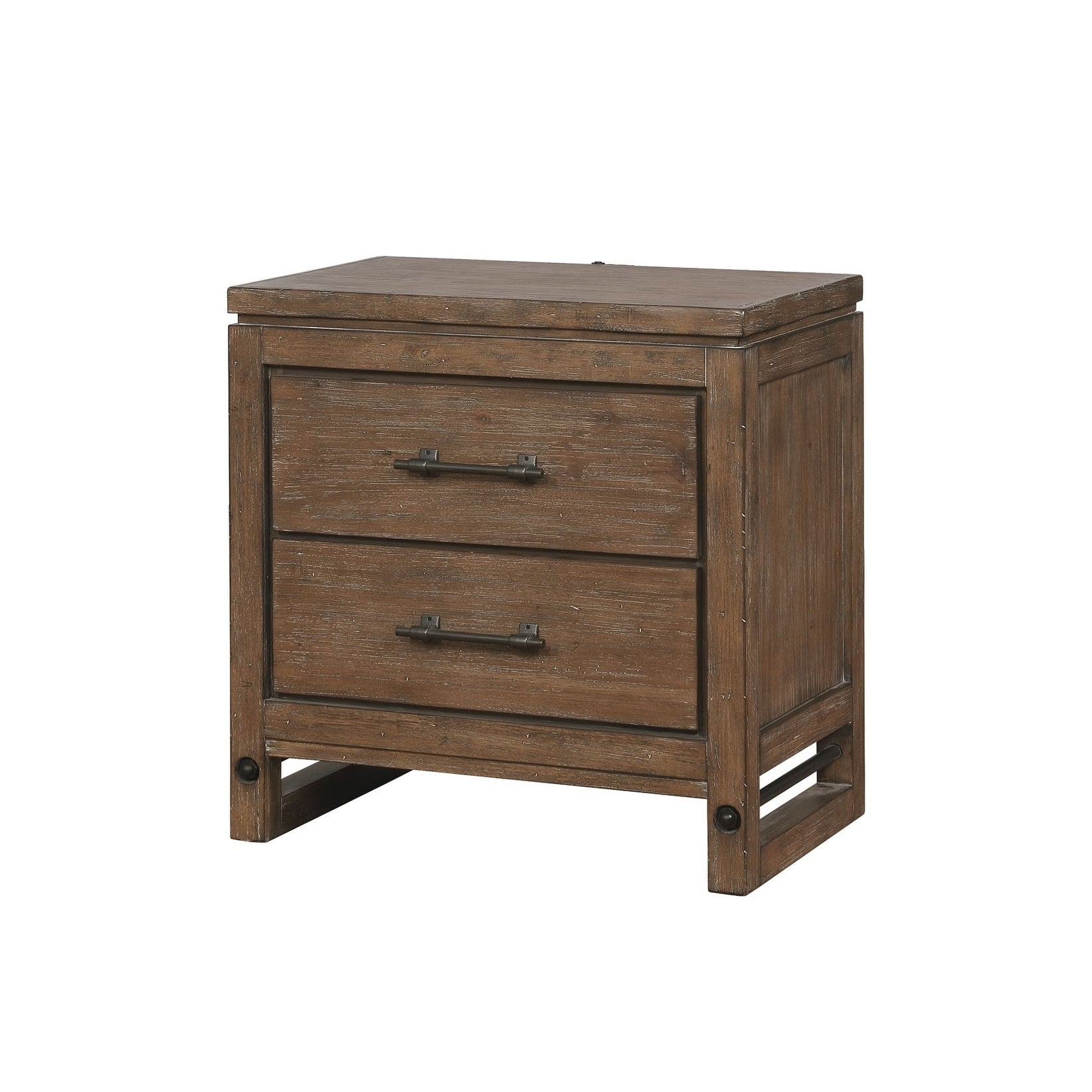 Round Rock Rustic Nightstand Usb Led