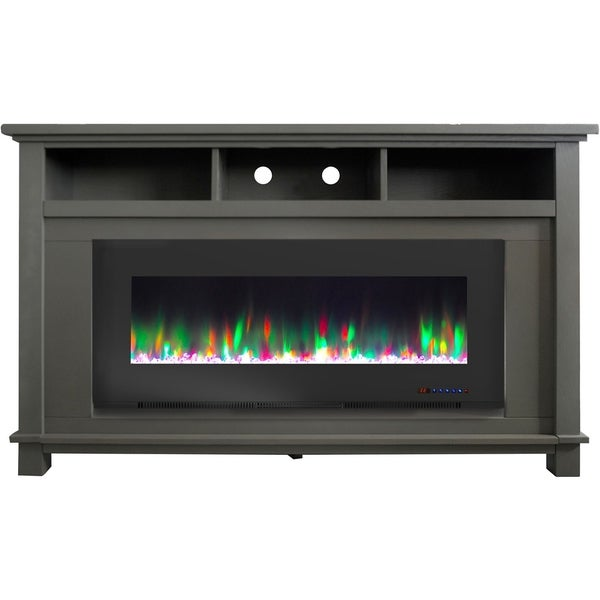 """Cambridge San Jose Fireplace Entertainment Stand in Gray with 50"""" Color-Changing Fireplace Insert and Crystal Rock Display"""