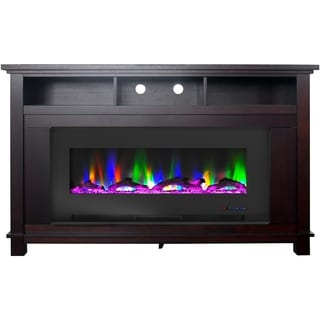 """Cambridge San Jose Fireplace Entertainment Stand in Mahogany with 50"""" Color-Changing Fireplace Insert and Driftwood Log Display"""