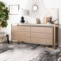 Safavieh Couture Rowen 6 Drawer Dresser - Weathered Oak / Brass