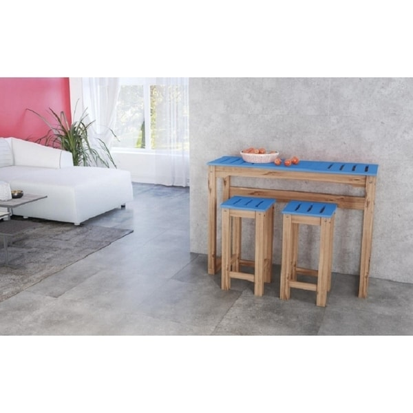 Shop 3 Piece Stillwell 47 3 Bar Kitchen Set In Blue And Natural