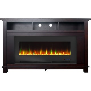 "Cambridge San Jose Fireplace Entertainment Stand in Mahogany with 50"" Color-Changing Fireplace Insert and Crystal Rock Display"