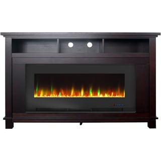 """Cambridge San Jose Fireplace Entertainment Stand in Mahogany with 50"""" Color-Changing Fireplace Insert and Crystal Rock Display"""