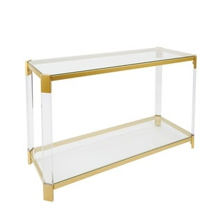 Huxley Goldtone Acrylic Console Table with Glass Top