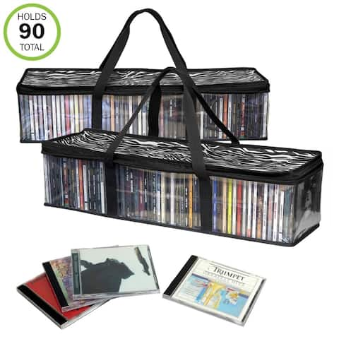 Evelots New&Improved CD Sturdy Storage Bags Carrying Handles- S/2-Total 96 CD's