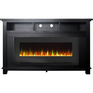 "Cambridge San Jose Fireplace Entertainment Stand in Black with 50"" Color-Changing Fireplace Insert and Crystal Rock Display"