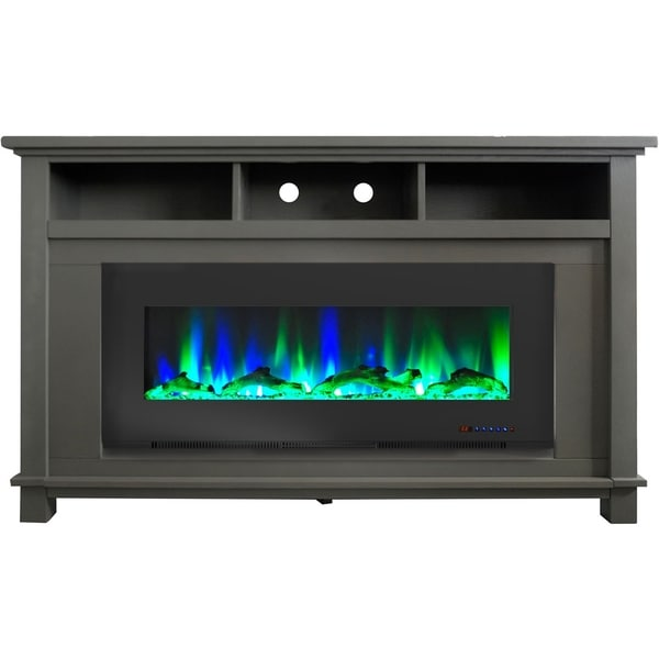 """Cambridge San Jose Fireplace Entertainment Stand in Gray with 50"""" Color-Changing Fireplace Insert and Driftwood Log Display"""