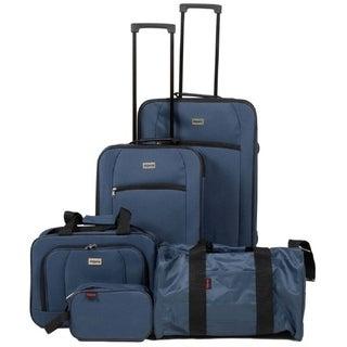 Dejuno Softside 5pc Luggage Set Navy