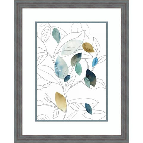 Framed Art Print 'Frond I' by PI Studio: Outer Size 21 x 26-inch