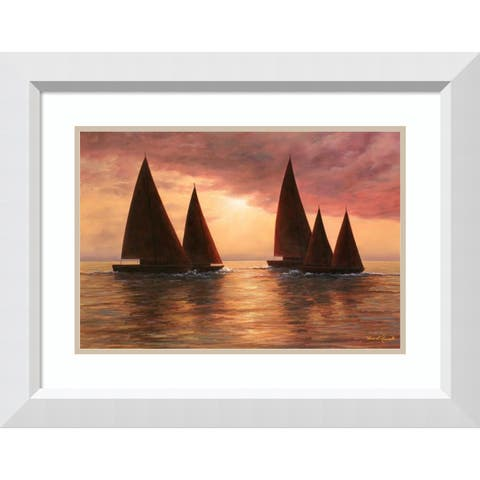 Framed Art Print 'Dream Sails' by Diane Romanello: Outer Size 28 x 22-inch
