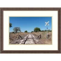 Framed Art Print 'Lonely, railroad tracks in the Texas Hill Country' by Carol Highsmith: Outer Size 29 x 22-inch