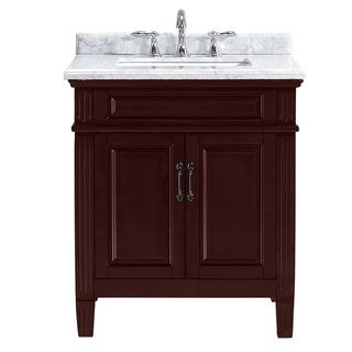 OVE Decors Blaine 30 in Chocolate Single Sink Vanity with Marble Top
