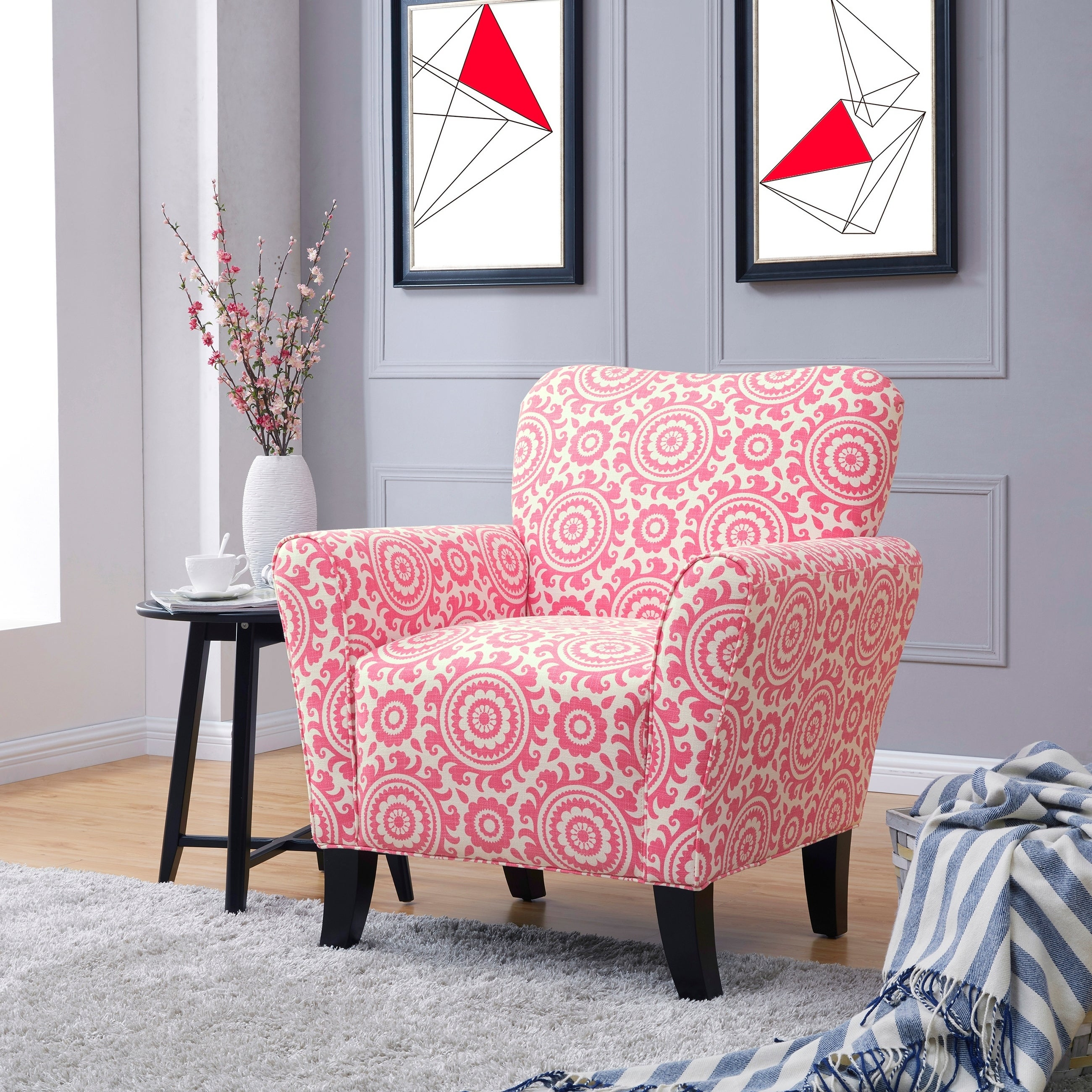 Copper Grove Harelbeke Magenta Medallion Arm Chair