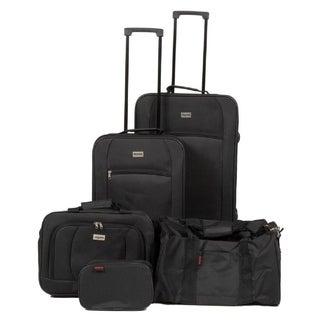 Dejuno Softside 5pc Luggage Set Black