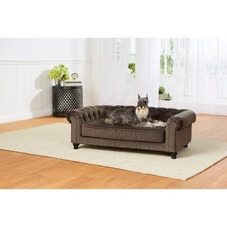 Enchanted Home Pet Wentworth Pet Sofa - Charcoal Grey Velvet