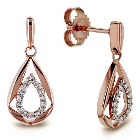 Annello by Kobelli 10k Rose Gold 1/10ct TDW Diamond Droplet Women or Girls Dangle Earrings