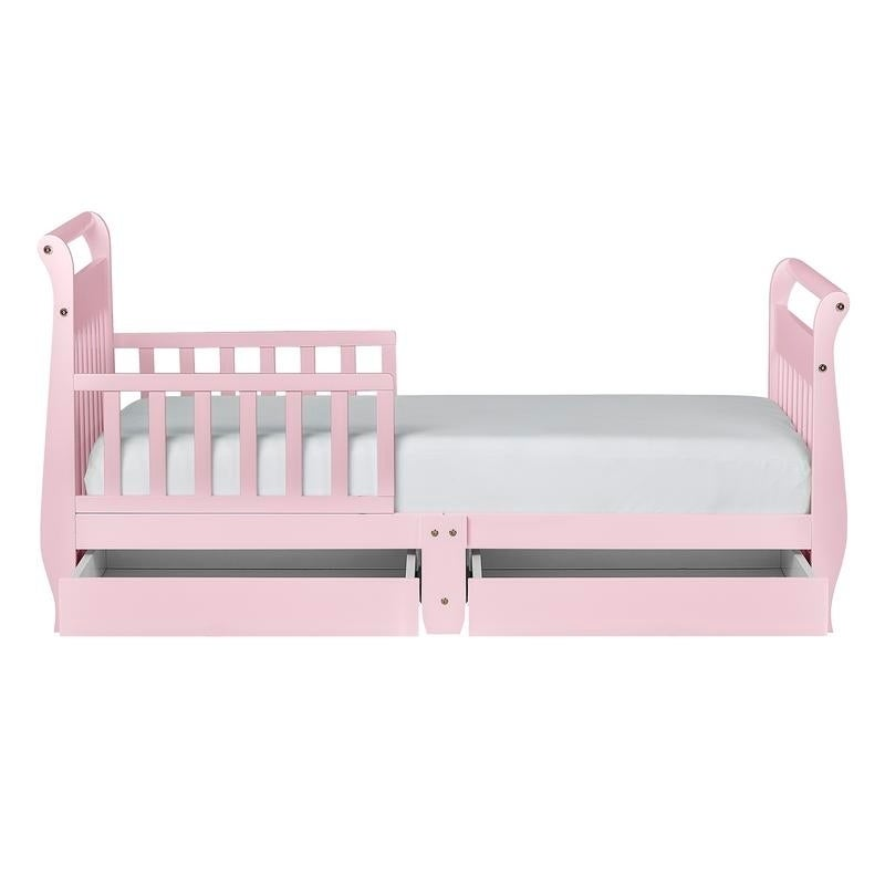 Dream On Me, Sleigh Toddler Bed w/ Storage Drawer Pink ...