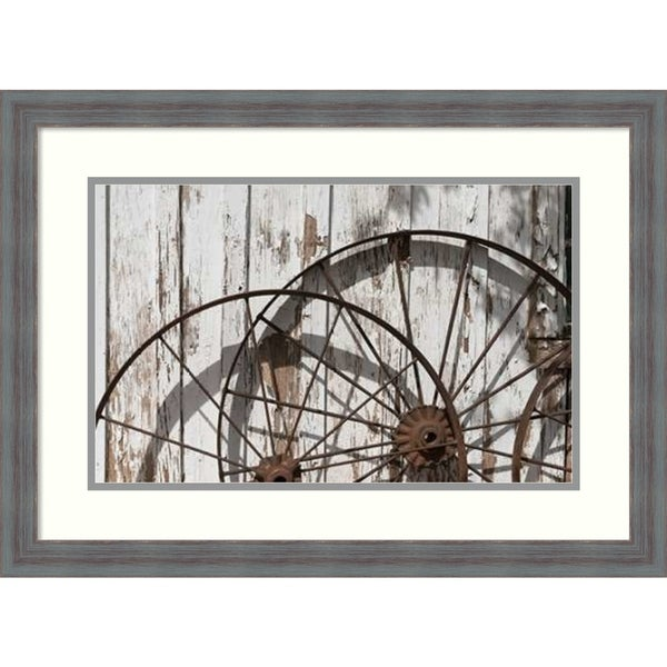 Framed Art Print 'Old wagon wheels in Buffalo Gap Historic Village, TX' by Carol Highsmith: Outer Size 26 x 19-inch