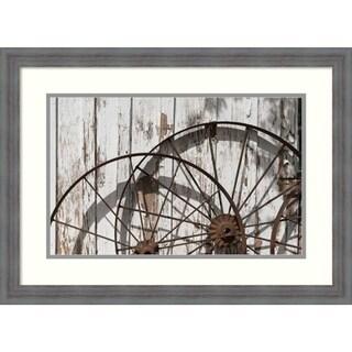 Framed Art Print 'Old wagon wheels in Buffalo Gap Historic Village, TX' by Carol Highsmith: Outer Size 26 x 19-inch