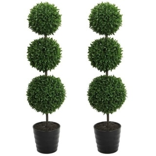 "2 x 24"" Faux Tabletop English Boxwood 2 Ball Topiary in Pot, Green"