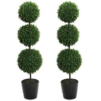 """2 x 24"""" Faux Tabletop English Boxwood 2 Ball Topiary in Pot, Green"""