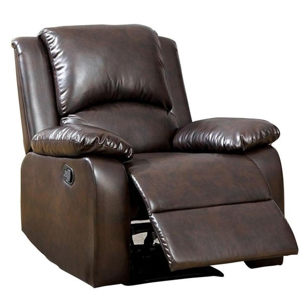 Williams Import Oxford Rustic Dark Brown Leatherette Transitional Recliner