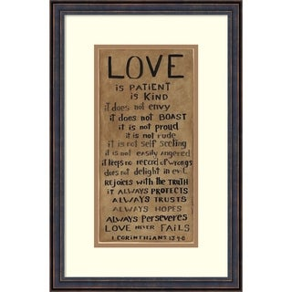 Framed Art Print 'Love is Patient' by Cindy Shamp: Outer Size 14 x 21-inch