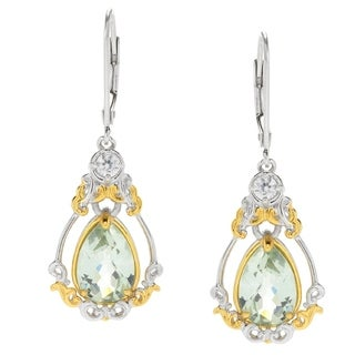 Michael Valitutti Palladium Silver Prasiolite & White Zircon Teardrop Earrings