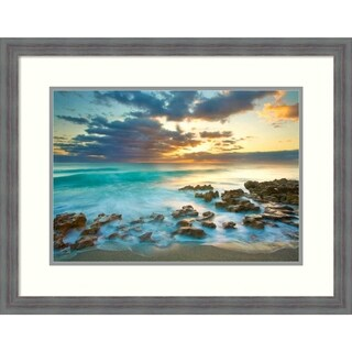 Framed Art Print 'Ocean Sunrise' by Patrick Zephyr: Outer Size 28 x 22-inch