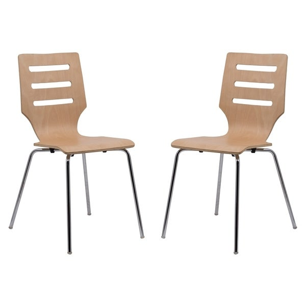 LeisureMod Revana Natural Plywood Chair with Chrome Frame Set of 2