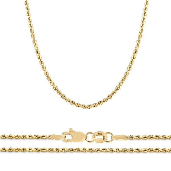 c10dd513bc62 Shop 10K Yellow Gold 2.25mm Diamond Cut Rope Chain Necklace
