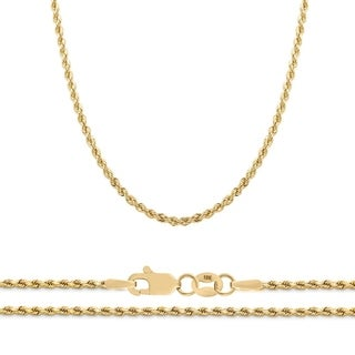 "10K Yellow Gold 2.25mm Diamond Cut Rope Chain Necklace, 16"" - 30"""