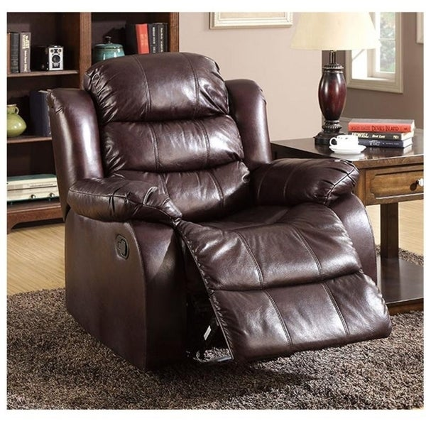 Williams Import Berkshire Rustic Brown Bonded Leather Match Recliner