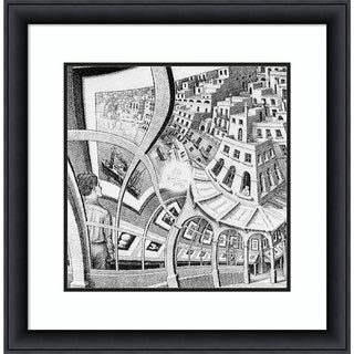 Framed Art Print 'Print Gallery' by M. C. Escher: Outer Size 29 x 28-inch