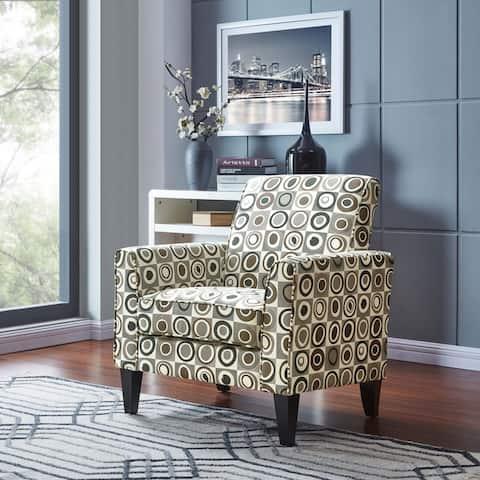 Handy Living Baja Grey, Black and Brown Geometric Circles Arm Chair