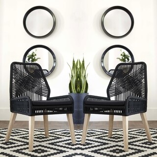Nature Hand Crafted Design Black Woven Rope and Mango Wood Dining Chairs (Set of 2)