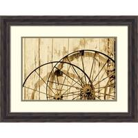Framed Art Print 'Old wagon wheels in Buffalo Gap Historic Village, TX - Sepia' by Carol Highsmith: Outer Size 26 x 20-inch