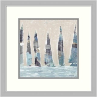Framed Art Print 'Muted Sail Boats Square I' by Meneely: Outer Size 20 x 20-inch