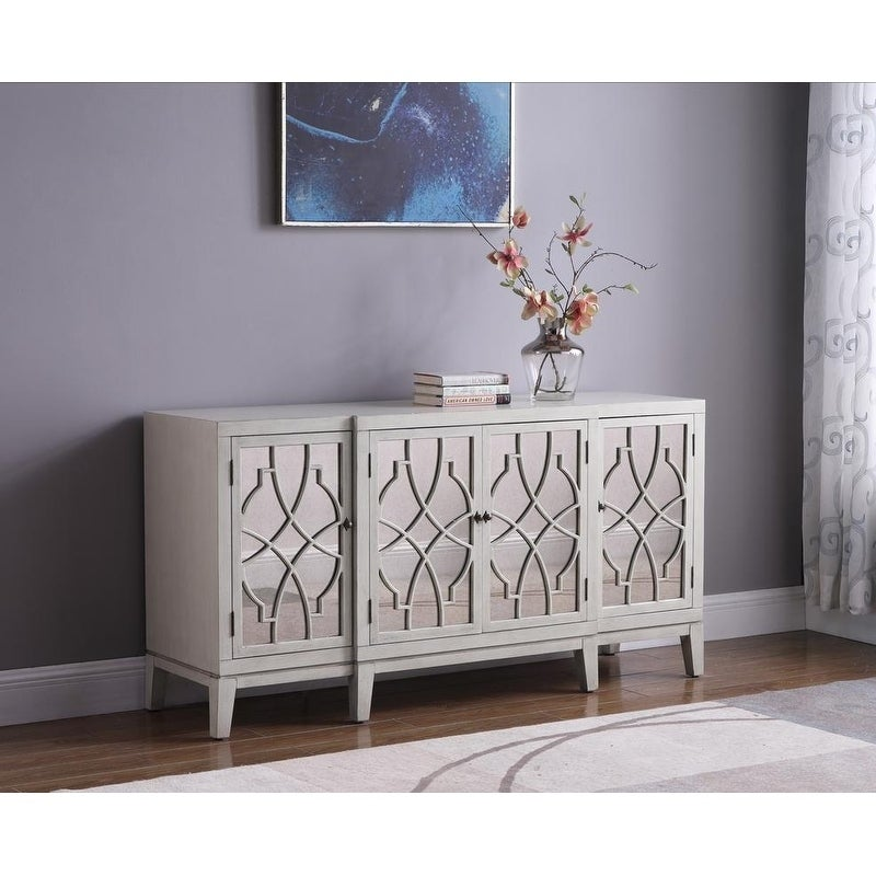 Best Master Furniture Antique Beige Mirrored Side Board