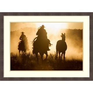 Framed Art Print 'Cowboys herding Horses at dusk, Oregon' by Konrad Wothe: Outer Size 38 x 28-inch