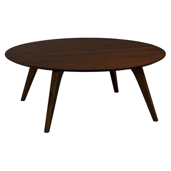 Martin Strata Round Hand-carved Cocktail Table