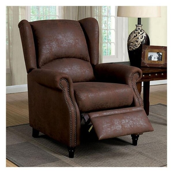 Williams Import CM-RC6834 Leona Transitional Brown Leatherette Push Back Chair
