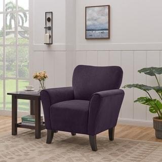 Copper Grove Harelbeke Aubergine Purple Velvet Arm Chair
