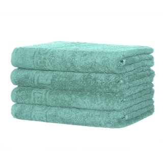 Solid Turquoise 4 piece 100% Cotton Hand Towel