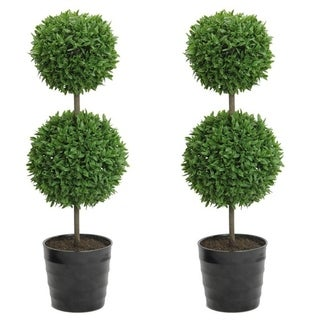 """2 x 18"""" Faux Tabletop English Boxwood 2 Ball Topiary in Pot, Green"""