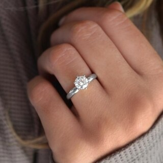 Genuine Diamond Solitaire Engagement ring in 14k White Gold 1 Carat Twt. (G,I2)