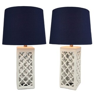 Kalia Ceramic White Lamp Set of 2 - 23 inch