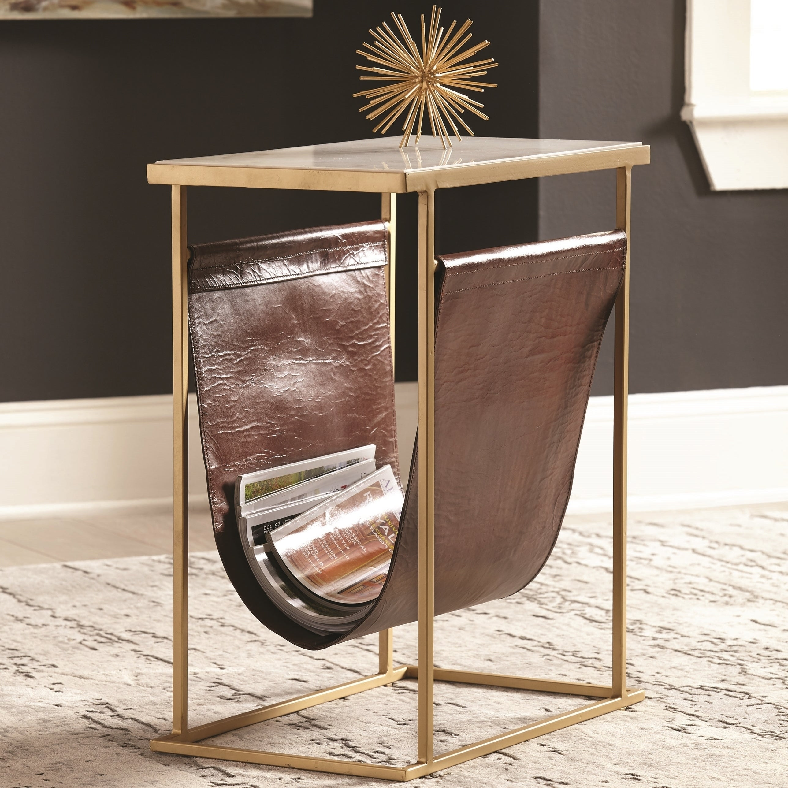 Picture of: Modern Brass Design Marble Top Accent End Table With Leather Magazine Pouch Overstock 24251094