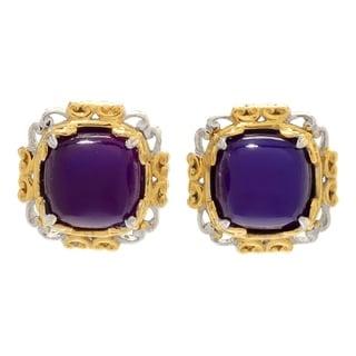 Gems en Vogue Palladium Silver Purple Chalcedony Scrollwork Stud Earrings